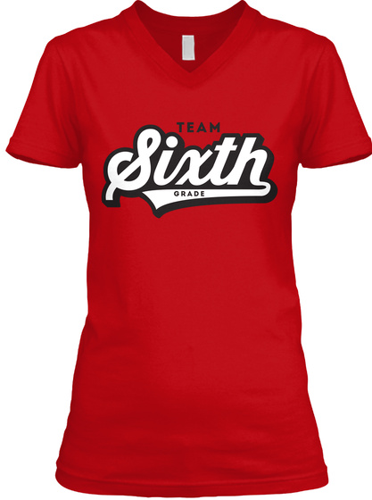 Team Sixth Grade Red T-Shirt Front