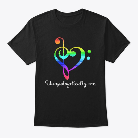 [$15] Unapologetically Me   Music Clef Black T-Shirt Front
