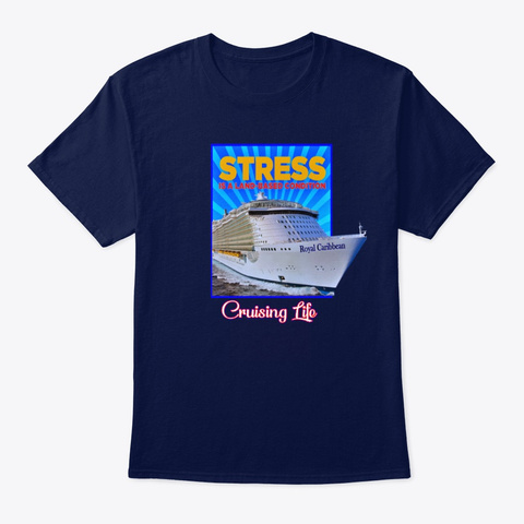 Stress Is A Land Based Condition  Navy T-Shirt Front