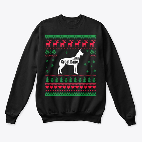 Great Dane Ugly Christmas Sweater Xmas Black T-Shirt Front