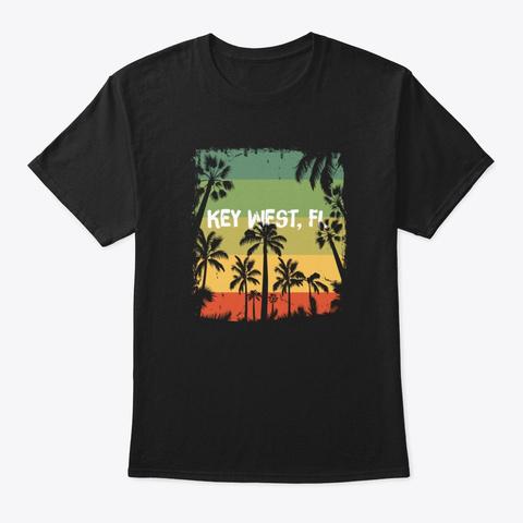 Vintage Key West Florida Beach  Black T-Shirt Front