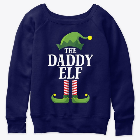 Daddy Elf Matching Family Group Christma Navy  T-Shirt Front