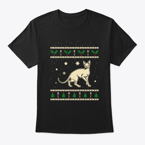 Christmas Don Sphynx Gift Black T-Shirt Front