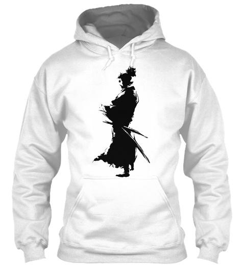 Ink Samurai Hoodie White Sweatshirt Front