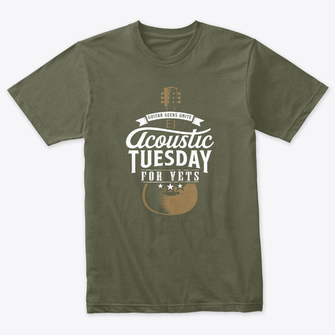 Acoustic Tuesday For Vets 2019 Military Green T-Shirt Front
