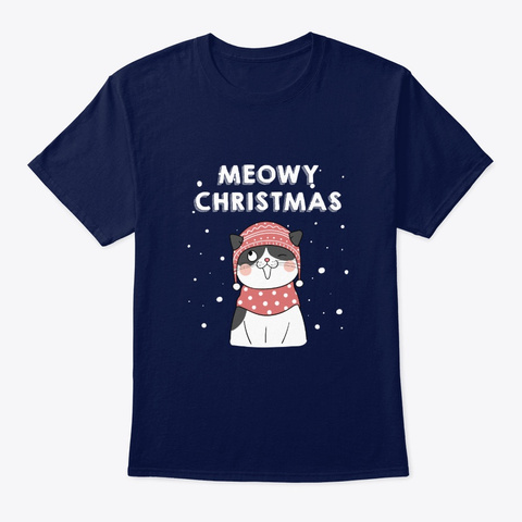 Meowy Christmas For Kitten Cat Cute Gift Navy T-Shirt Front