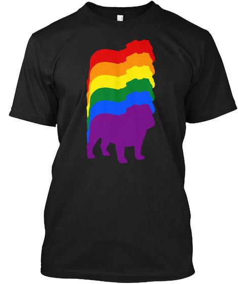 Bulldog Rainbow Black T-Shirt Front