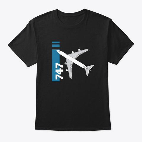747 Queen Of The Sky Black T-Shirt Front