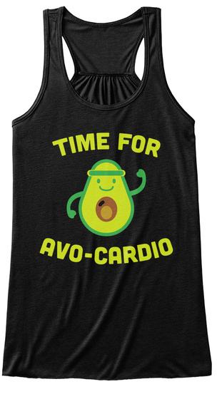 Time For Avo Cardio Black T-Shirt Front