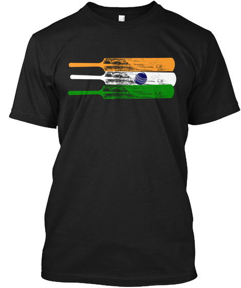 Cricket Flag Of India Black T-Shirt Front
