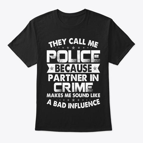 Police Partner In Crime Police T Shirt Black T-Shirt Front