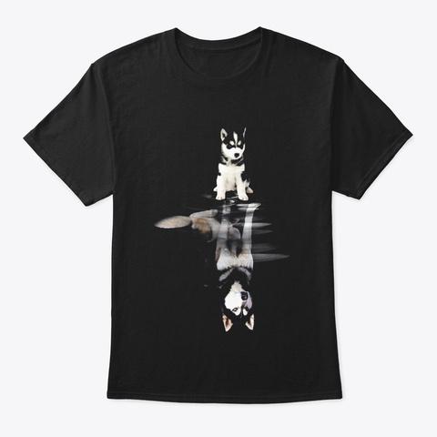 Siberian Husky In Dream Black T-Shirt Front