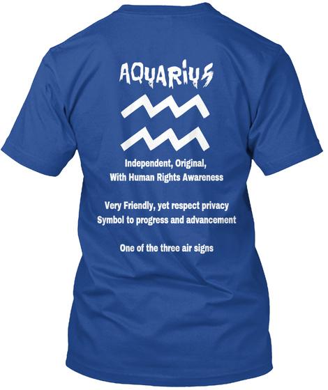 Aquarius T Shirts Deep Royal T-Shirt Back
