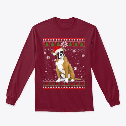 Merry Xmas Boxer Dog Santa Hat In Snow Cardinal Red T-Shirt Front