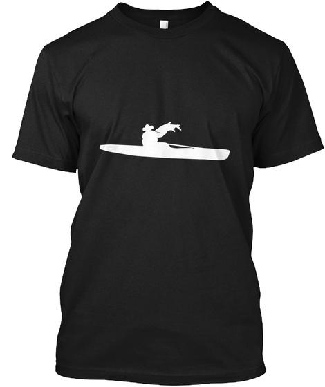 Big Salmon Kayak Fishing Art Hand Drawn Black T-Shirt Front