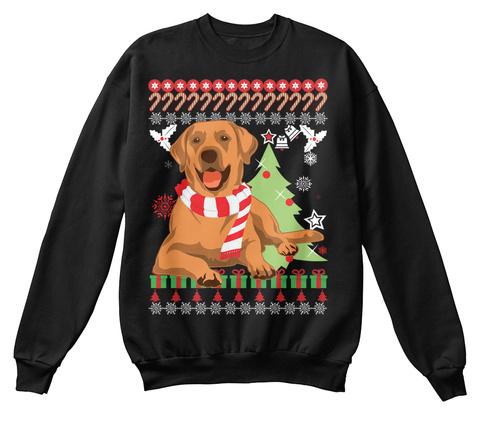 Labrador Dog Ugly Christmas Sweater. Black T-Shirt Front