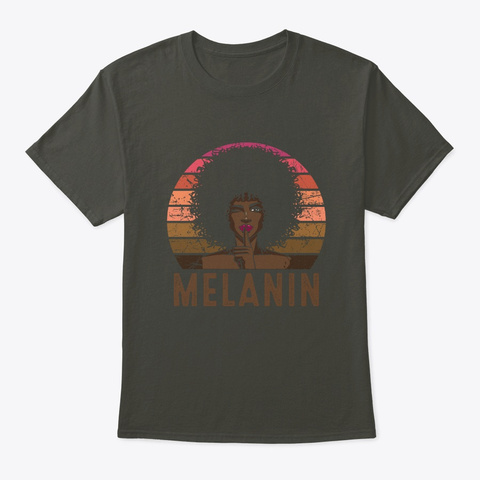 Melanin Vintage Retro Black Afro Woman  Smoke Gray T-Shirt Front