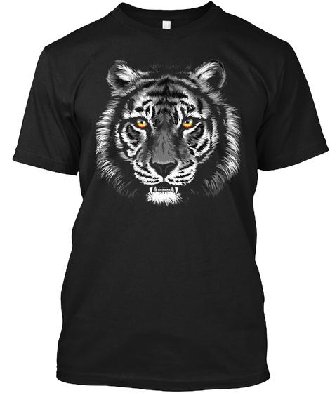 Tiger Shirt   Tiger Face T Shirt  Black T-Shirt Front