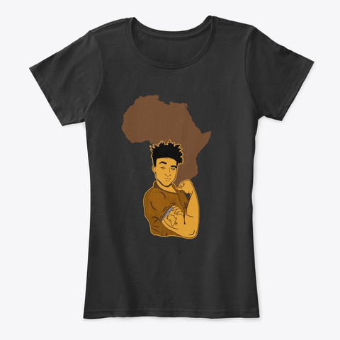 Powerful Strong Black Men Pride Apparel Black T-Shirt Front