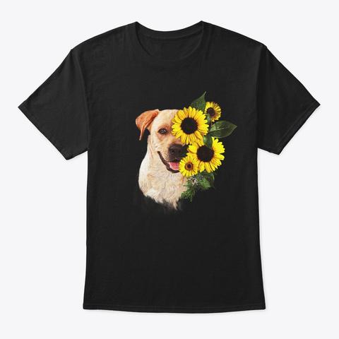 Comic Sunflower Labrador Lover Gift Black T-Shirt Front