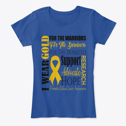 Childhood Cancer Awareness T Shirt Gold Deep Royal  T-Shirt Front