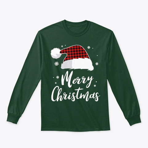 Merry Christmas Shirt Red Pajama Santa's Forest Green T-Shirt Front