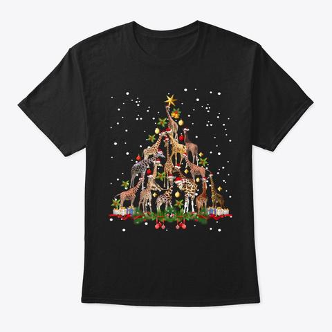 Funny Giraffe Christmas Tree T Shirt Black T-Shirt Front