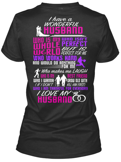 Na I Have A Wonderful Husband Black Women's T-Shirt Back