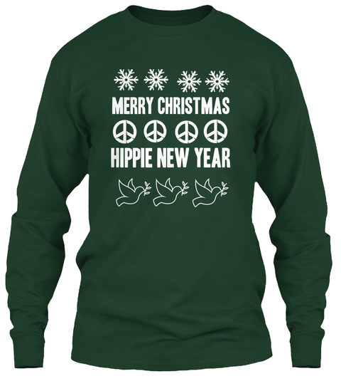 Merry Christmas Hippie New Year Forest Green Long Sleeve T-Shirt Front
