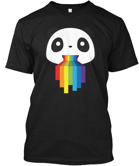 Panda Lgbt Pride Black T-Shirt Front