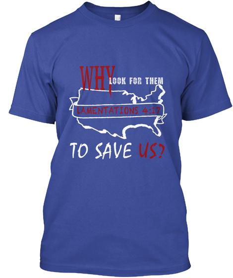 Save Us Deep Royal T-Shirt Front
