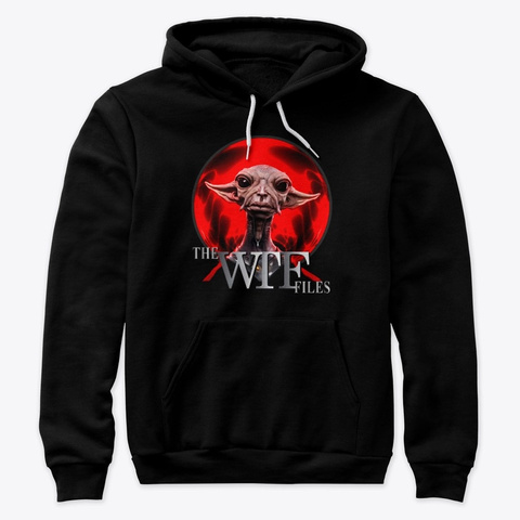 The Wtf Files (Logo) Red Alien Black T-Shirt Front