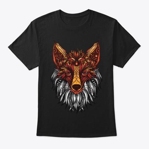 Mandala Pattern Hippie Tribal Fox Gift Black T-Shirt Front