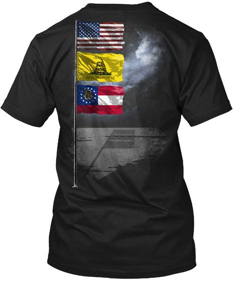 Georgia Gadsden Flagpole Black T-Shirt Back