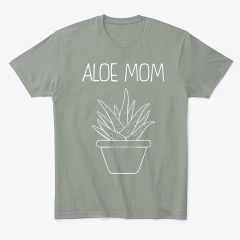 Succulent Garden Gift Aloe Mom Graphic Grey T-Shirt Front