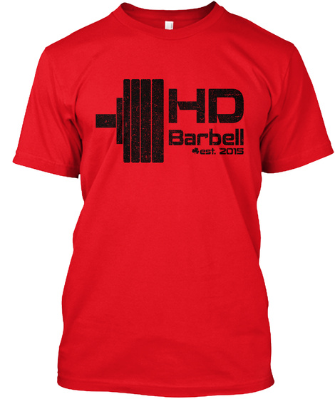 Hd Barbell Est. 2015 Red T-Shirt Front