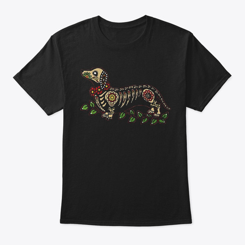 Day Of The Dead Dachshund Black T-Shirt Front