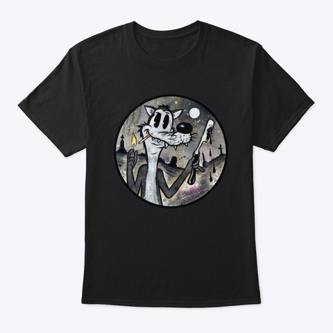 Wolf With A Blade Vintage Cartoon  Black T-Shirt Front