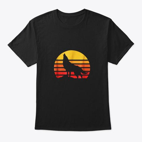 Vintage Wolf Retro Eighties Wolfdog Wild Black T-Shirt Front