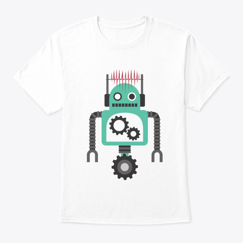 Rolling Robot, Heart Love Signal White T-Shirt Front