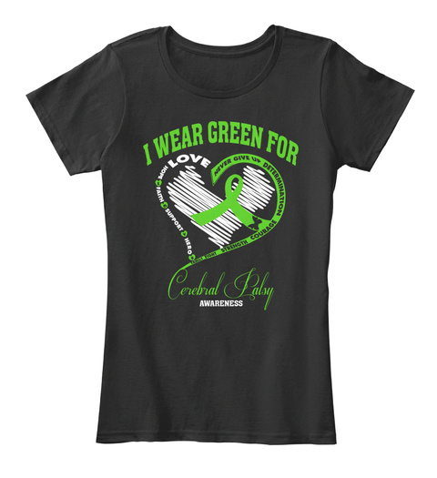 I Wear Green For Never Give Up Determination Courage Strength Family Fight Hero Support Faith Hope Love  Cerebral... Black Camiseta Front