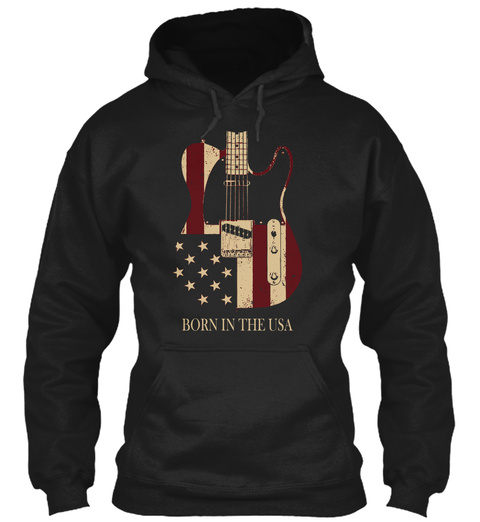 Born In The Usa Black T-Shirt Front