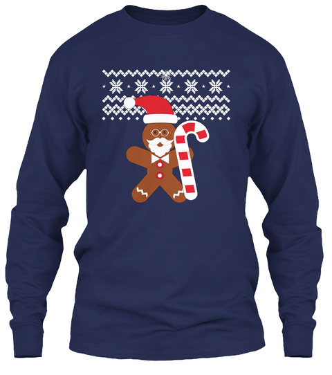 Ugly Christmas Sweater Navy T-Shirt Front
