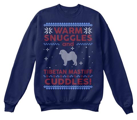 Tibetan Mastiff Ugly Christmas Sweater Navy  T-Shirt Front