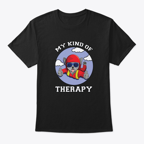 Cute Cat Diving In The Sky Therapy Black T-Shirt Front