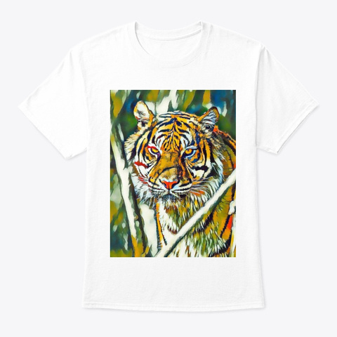 Close Up Of A Beautiful Tiger White T-Shirt Front