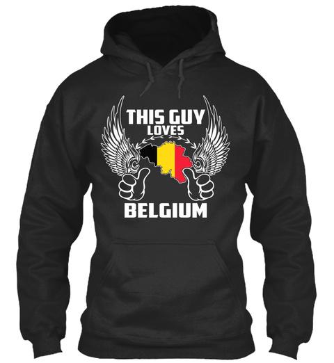 This Guy Loves Belgium Jet Black T-Shirt Front