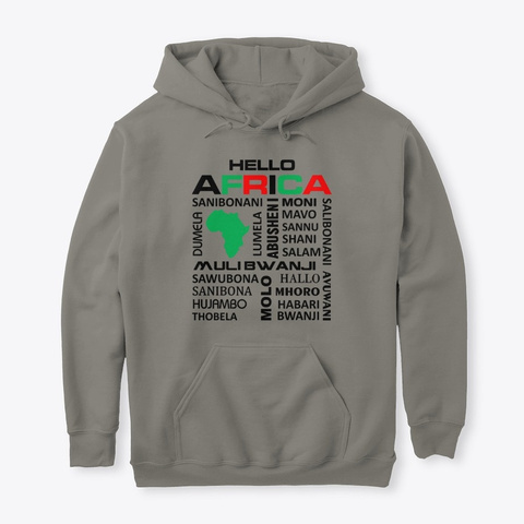 Hello Africa Charcoal T-Shirt Front