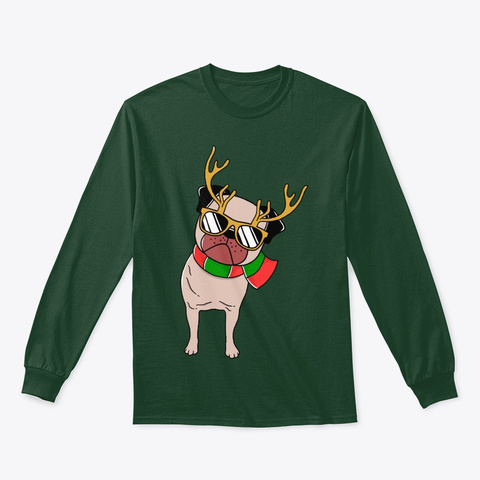 Christmas Pug Pajamas Long Sleeve Shirt Forest Green T-Shirt Front