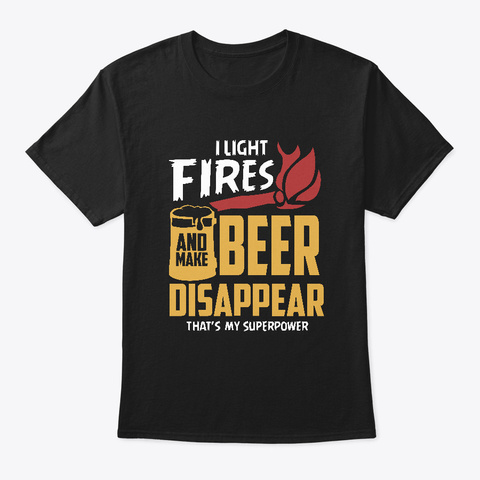Camping Campfire Beer  Black T-Shirt Front
